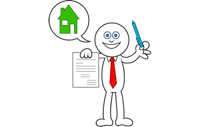 Legal information - image of a character signing a contract
